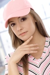 Closeup portrait of attractive casual girl