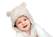 Adorable baby girl with a funny bear hat