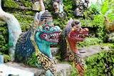 Traditional balinese monster secure the gate of temple