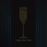 Typographic glass of champagne - New Year. poster