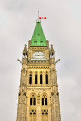 Part of Clock Tower of the Parliament Buildings in Ottawa