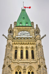 The Clock Tower of the Parliament Building in Ottawa, Canada