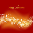 Gold and red Christmas background, light waves and stars vector