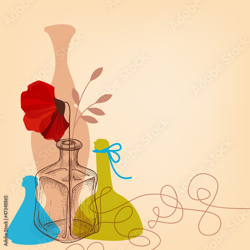 Lifestyle illustration with flower vases and bottles