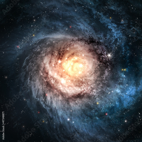 Leinwanddruck Bild Incredibly beautiful spiral galaxy somewhere in deep space