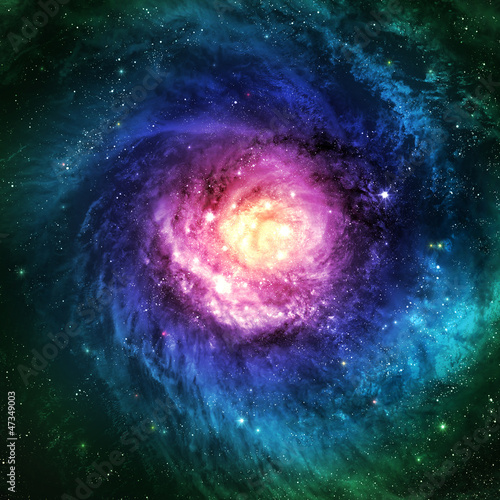 Incredibly beautiful spiral galaxy somewhere in deep space - 47349003