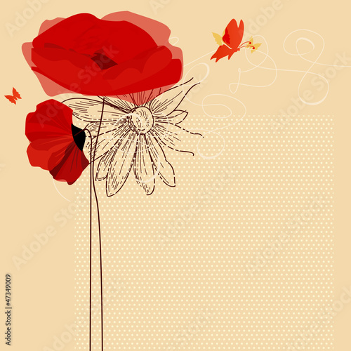 In de dag Abstract bloemen Floral invitation, poppies and butterfly vector
