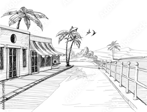 Small and quiet city at sea shore, street view sketch - 47349031