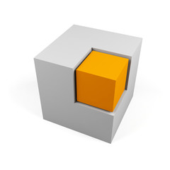 3d cube isolated on a white