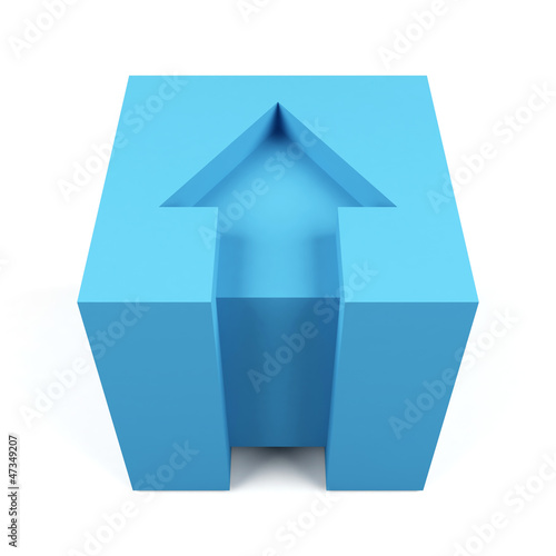 3d cube with red arrow