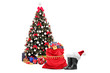 Christmas tree amd santa accessories, pair of boots and bag