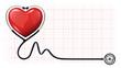 3d heart beat cardiogram stethoscope vector template