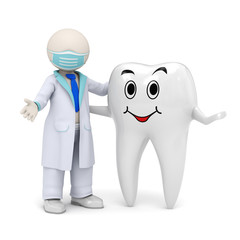 3d dentist with a smiling tooth icon