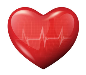3d vector heart with cardiogram reflection icon