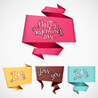 Valentine's Day vector background. Origami speech bubble.