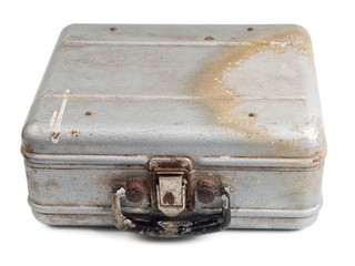 Old dirty metal box isolated on white