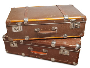Two vintage suitcase. Clipping path included.