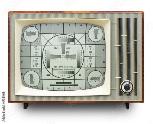 TV test card on old b/w tv set. Clipping path included