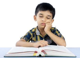 School Boy Sleeping on Book