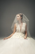 Slim beautiful woman wearing luxurious wedding dress. Bride