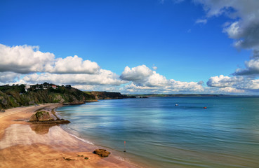 Sweeping view of North Beach, Tenby.