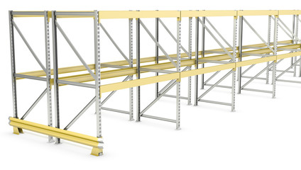 Row of double sided pallet racks