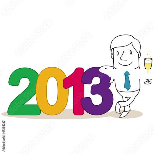 Geschäftsmann, 2013, Sektglas, Silvester, Neujahr
