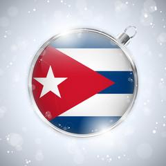 Merry Christmas Silver Ball with Flag Cuba