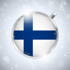 Merry Christmas Silver Ball with Flag Finland