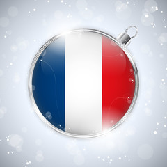 Merry Christmas Silver Ball with Flag France