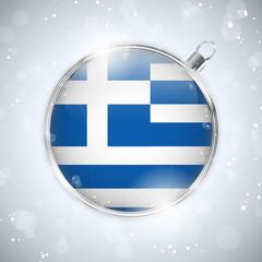 Merry Christmas Silver Ball with Flag Greece