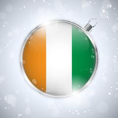 Merry Christmas Silver Ball with Flag Ireland
