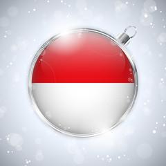 Merry Christmas Silver Ball with Flag Monaco