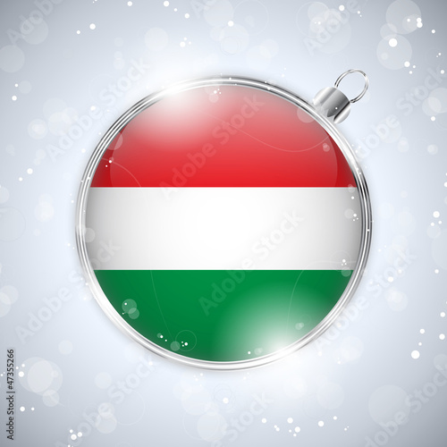 Merry Christmas Silver Ball with Flag Hungary