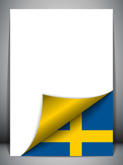 Sweden Country Flag Turning Page