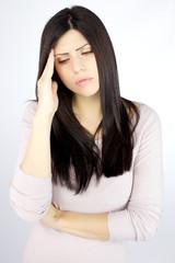 Good looking woman sad suffering bad strong headache