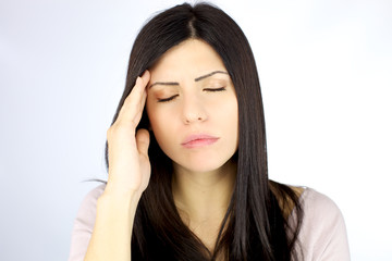 Woman suffering strong migraine