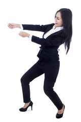 Businesswoman pull something on copyspcae