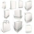 Ten white blank boxes isolated on white