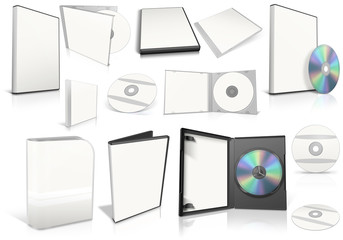 White multimedia disks and boxes on white background