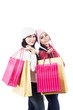 Friends shop together holding bags isolated in white