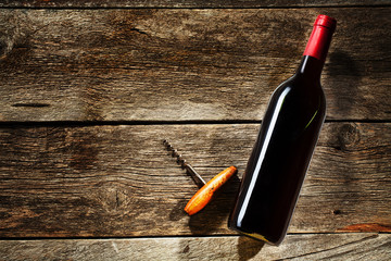 Wine Bottle on a wooden background