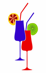 Glasses with a cocktail.Vector