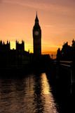 The Big Ben at sunset, London, UK.