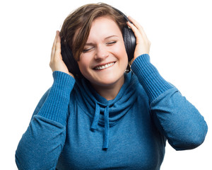Cool Woman Listening To Music