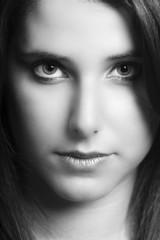 Beautiful girl portrait B&W image
