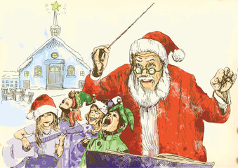 Santa Claus as conductor of the choir of Elves.