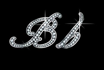Script Diamond Bling Bb Letters