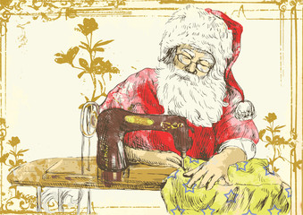 "Santa Claus as a ""vintage"" tailor."