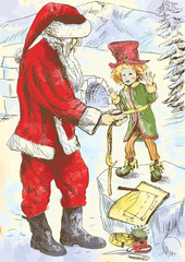 Santa Claus as the tailor sews clothes for his elf.